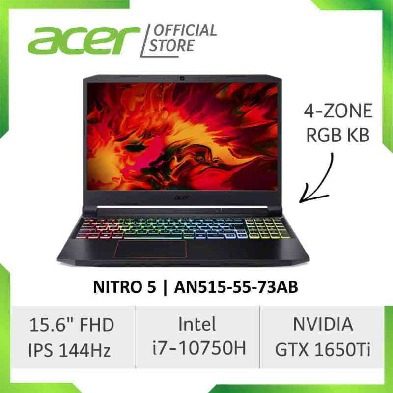 Acer Nitro 5 AN515-55-73AB NEW 144Hz Refresh Rate Gaming laptop with Intel i7-10750H Processor and NVIDIA GTX 1650Ti 4GB GDDR6