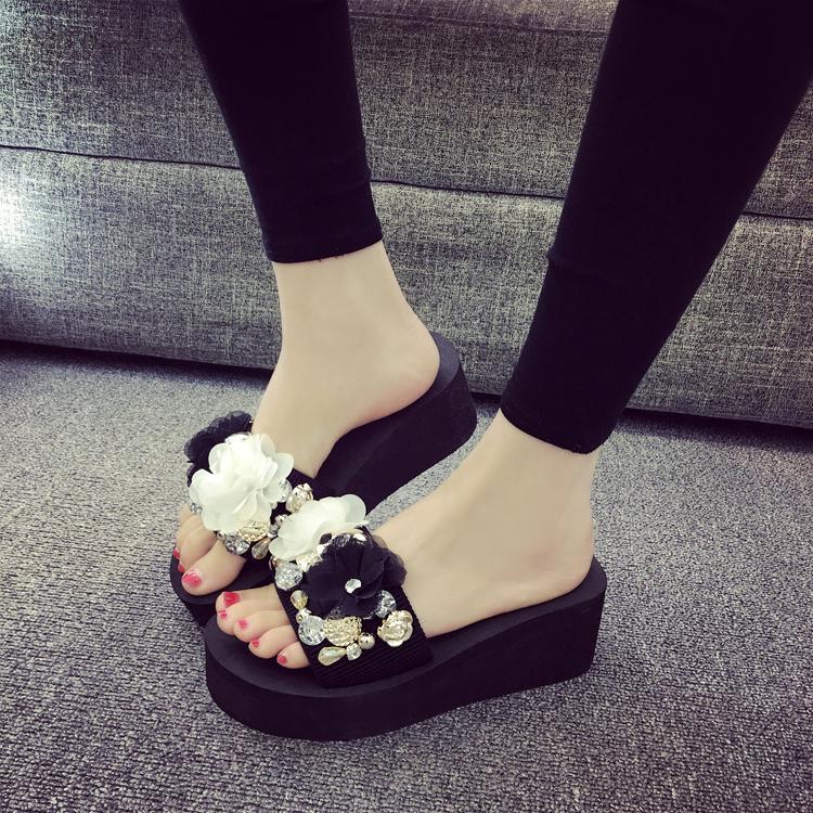 970edac7911500 Summer Thick Bottomed Flip-flops Fashion Korean Style Sandals Anti-slip  Slanted Heel Platform