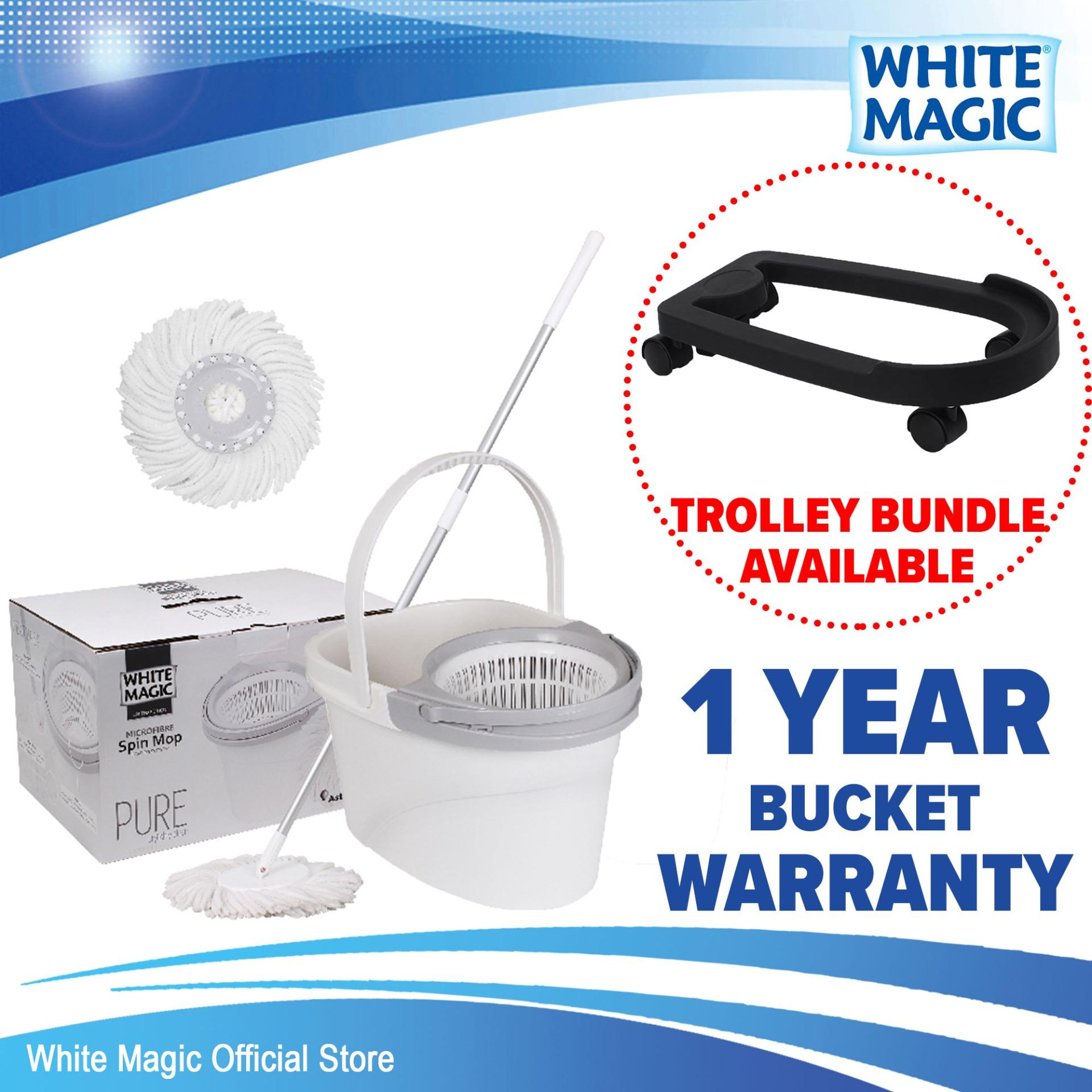 White Magic Pure Spin Mop Set (with 2 Free Mop Heads) / Trolley Bundle (add-On Available) / 1 Year Bucket Warranty By White Magic Official Store.