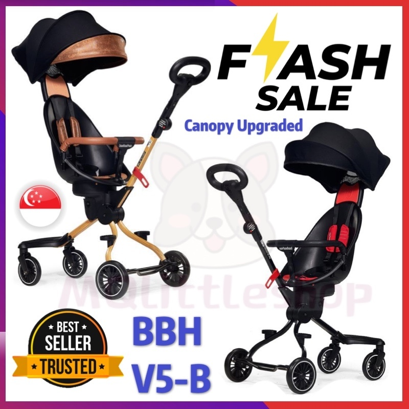 [V5-B] BAOBAOHAO Baby Stroller Two Way Push with Removable Canopy Safety Handrail Portable Lightweight Foldable Baby Walker Walking Trolley Installation-free Singapore