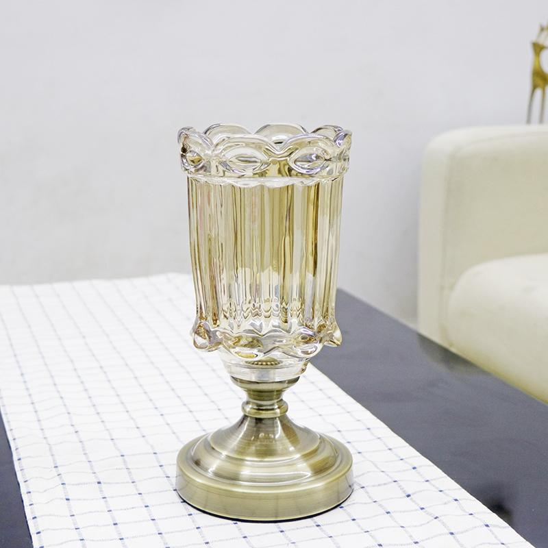 Top Grade Neo-Classical European Style Bronze Crystal Glass Vase Model Room Home Decoration Living Room Table Vase Decoration