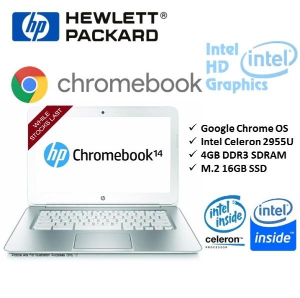 [Refurbished] Snow White HP Chromebook 14 inches Laptop Ultrabook INTEL 2955U 4G ram 16G ssd HD Webcam Google Chrome OS - Ready Stock