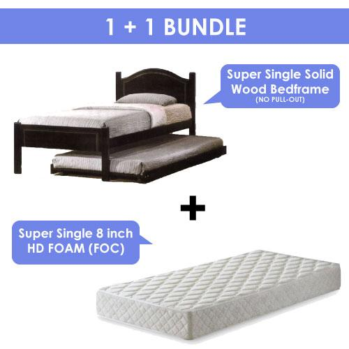 A-STAR] SUPER SINGLE SOLID WOODEN BED SET(8 MATTRESS INCLUDED)