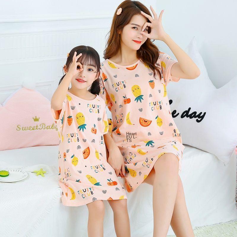 Nơi bán Trẻ Em Váy Ngủ Thu Đông Nữ Tay Ngắn Công Chúa Bé Gái Cotton Cha Mẹ-Con Mẹ Và Con Gái