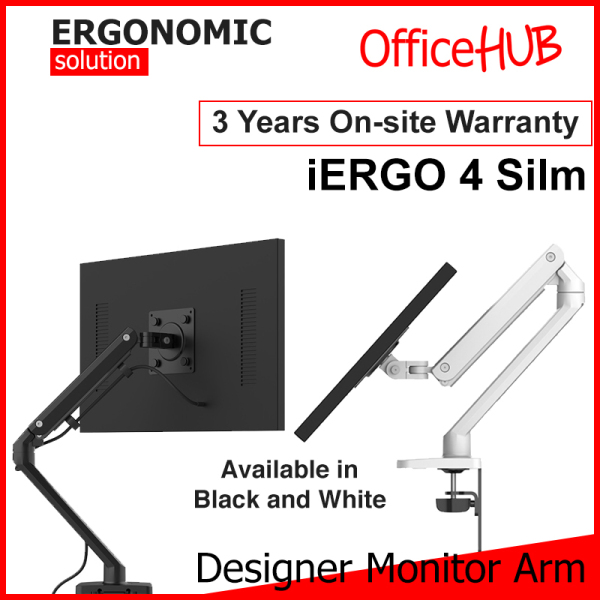 iErgo 4 Slim Single Monitor Arm ★ Monitor Mount ★ Monitor Stand ★ Desk stand ★ Ergonomic Stand ★ Table Mount ★ USB 3.0 ★ Fits Monitor Screens up to 34 Inch ★ Max Weight 8 KG ★ VESA Mount ★ Height Adjustable ★ Clamp Grommet Mount To Desk ★