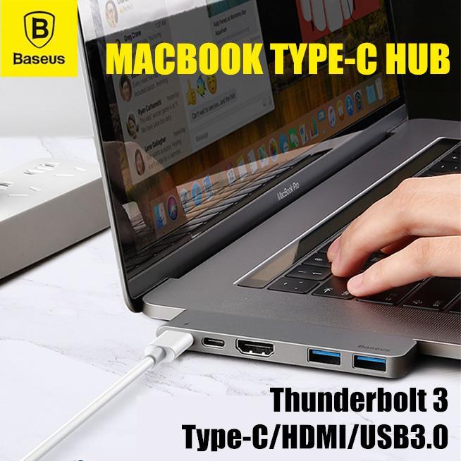 BASEUS Thunderbolt C+ Dual Type C to USB3.0/HDMI/Type-C Female HUB Converter for MacBook Pro 2016/2017