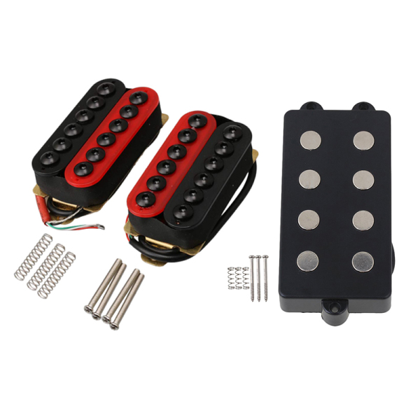 1Pcs Noiseless Good Balance 4 String Bass Humbucker Double Coil Pickup Black for Bass Guitar & 2Pcs Double Coil Humbucker Electric Guitar Neck Bridge Pickup Red and Black