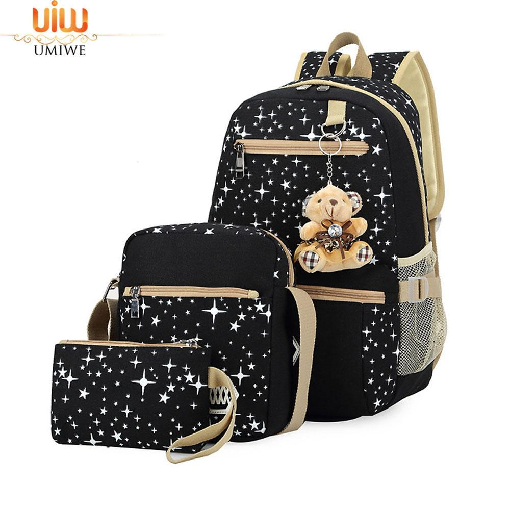 Umiwe 3 Pcs Korean Fashion Lightweight Teen Girls Shoulder Bags Canvas Backpack Schoolbag With Star Printed--Suitable 3-18 Years Old - Intl By Umiwe.