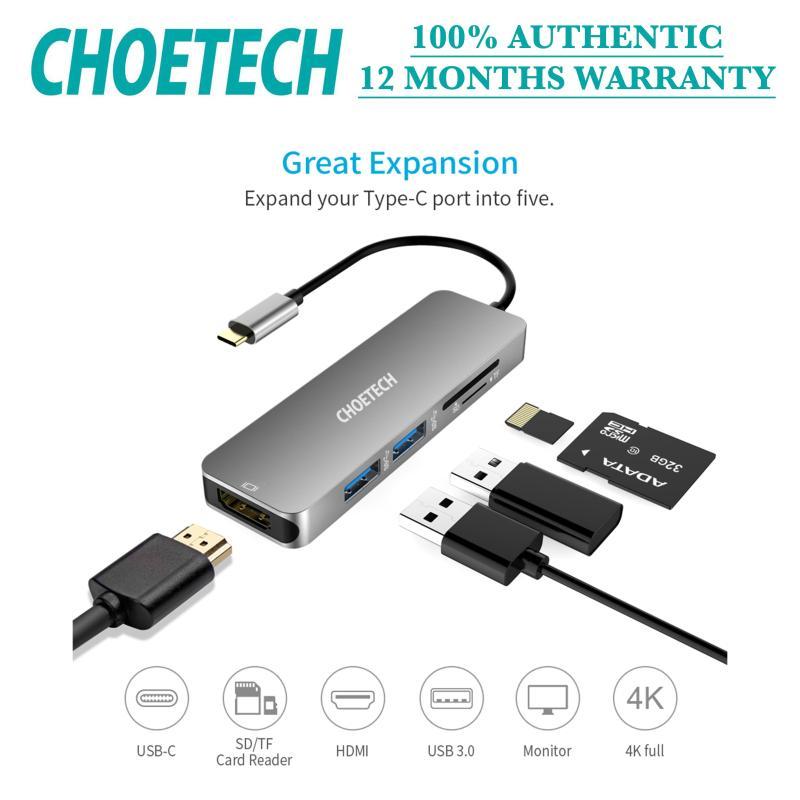 Choetech 5-in-1 Multi-port USB-C Hub (12 months warranty)