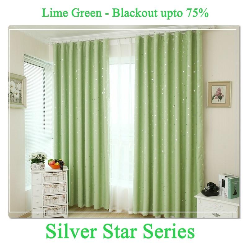 Silver Star Series Blackout Curtain - 130cm by 180cm (Hook)