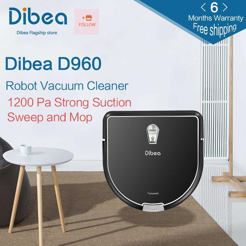 [Free shipping] [6 months warranty] Dibea D960 Smart Robot Vacuum Cleaner with Wet Mopping Function, Edge Cleaning Technology for Pet Hair Thin Carpets [With Singapore plug adapter] Singapore