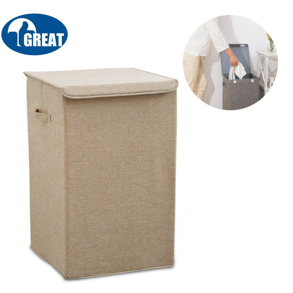 Goodgreat Laundry Hamper Sorter – Foldable Fabric Cotton-Linen Home Dirty Clothes Storage Basket With Cloth Liner & Lid Closure , Space-Saving & Portable Handles For Easy Transport By Good&great.