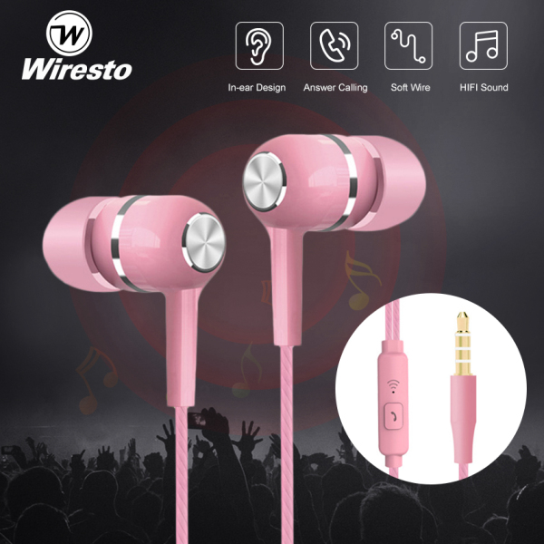 Wiresto In-Ear Headphones Earphone Wired Earbuds Sport In Ear Headphone Stereo Headset3.5mm Jack Wired Cable Music Headphone HIFI Sound Quality No Ear Pain Earphone Headphone with HD Microphone Singapore