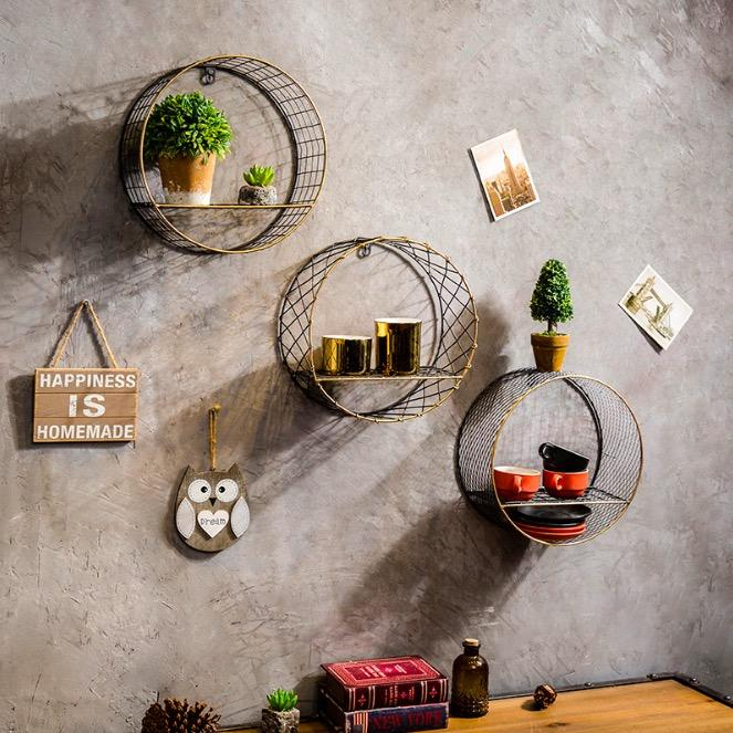 Black Round Industrial Style Storage Rack / Wall Decoration / Storage Space