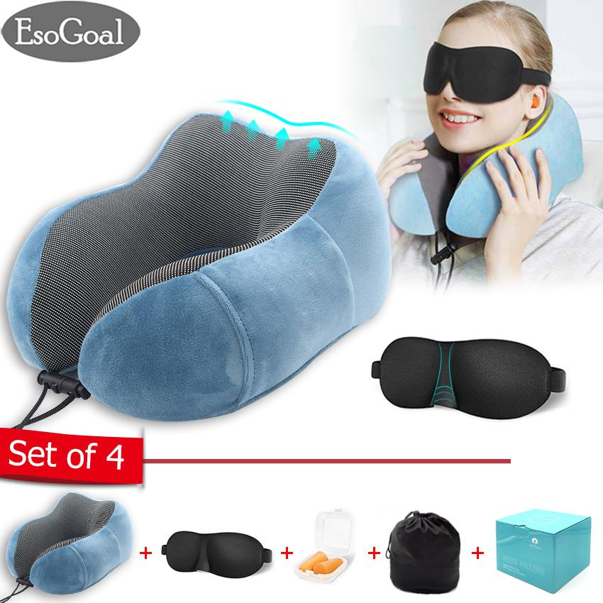 EsoGoal Travel Pillows travel neck pillow Pure Memory Foam Neck Pillow, Comfortable & Breathable Cover, Machine Washable, Airplane Travel Kit with 3D Contoured Eye Masks, Earplugs, and Luxury Bag, Standard, Gray