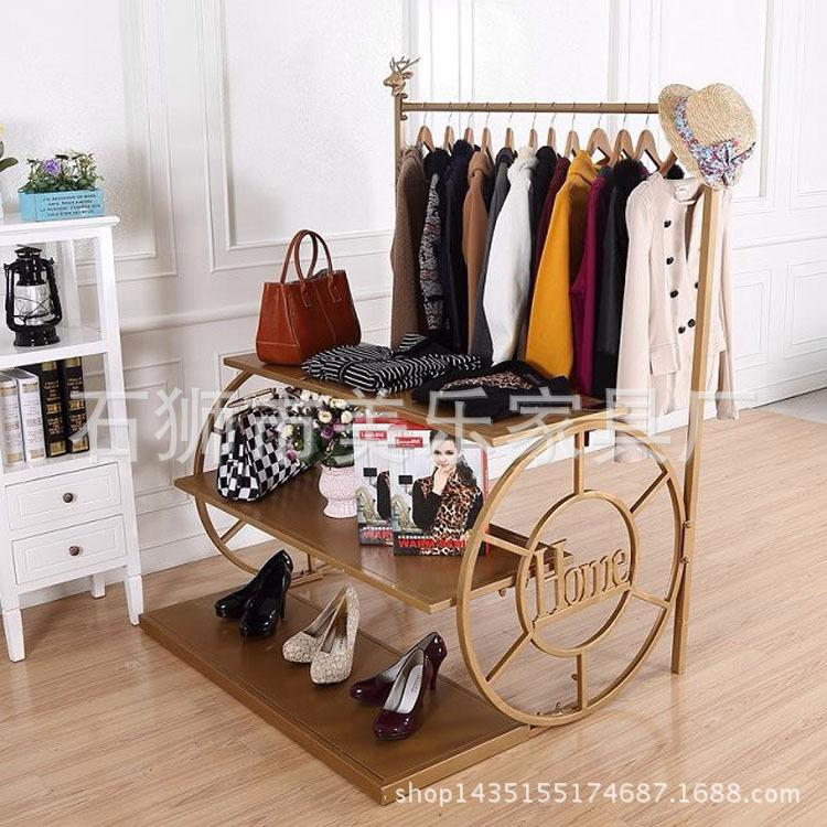 Iron Art Antique Finish Clothing Rack Floor Display Frame Childrens Clothing Store Creative Wheel-Shelf Womens Dress Shoe Bag Island Shelf