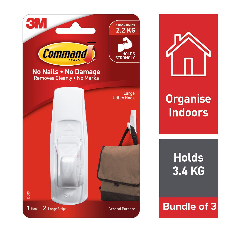 3M Command Large Hooks 1 Pcs with 2 Strips [17003] [Bundle of 3]
