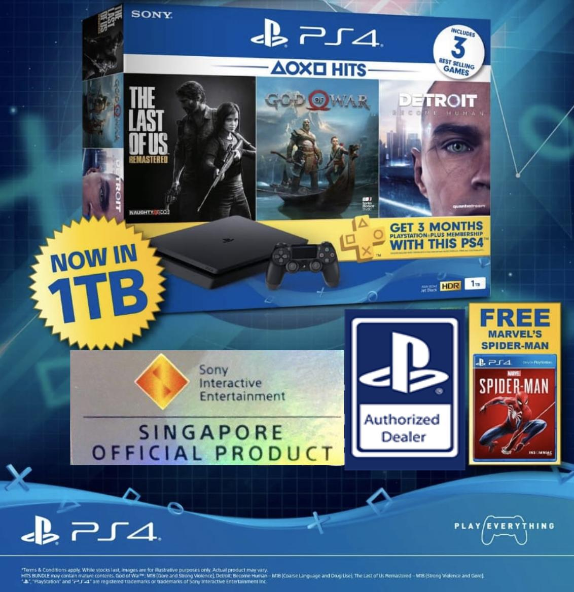 PS4 1TB Slim Hits Bundle with Free Spider-Man Game Disc