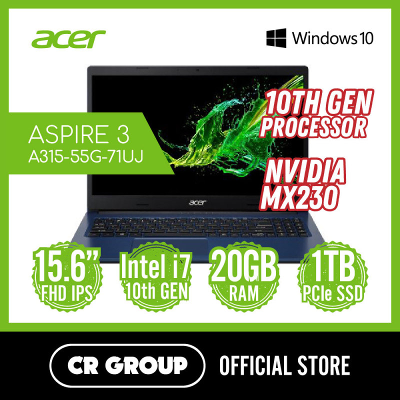Acer Aspire 3 A315-55G-71UJ 10th Gen Intel® Core™ | i7-10510U | NVIDIA MX230 | 4GB + 16GB DDR4 RAM | 1TB PCle SSD | 15.6 Inch FHD | Win 10 Home