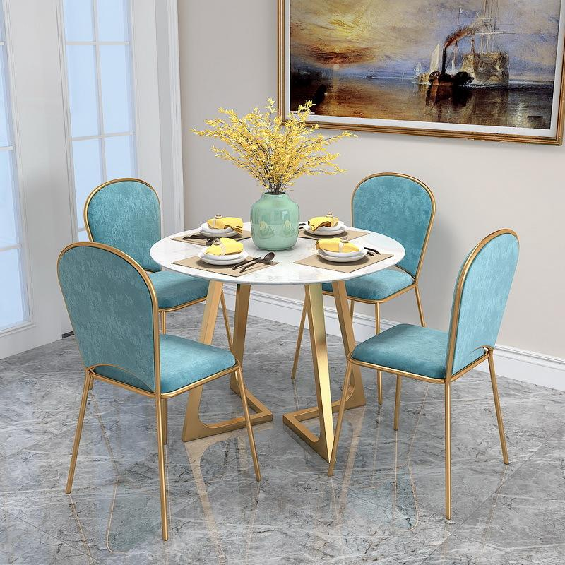Northern Europe INS Wind Marble Round Table Household Small Apartment Dining Tables And Chairs Set Restaurant Simplicity Multi-seat Table