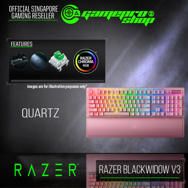 Razer BlackWidow V3 - Mechanical Gaming Keyboard (Green Switch) - Quartz Edition - RZ03-03541800-R3M1 Singapore