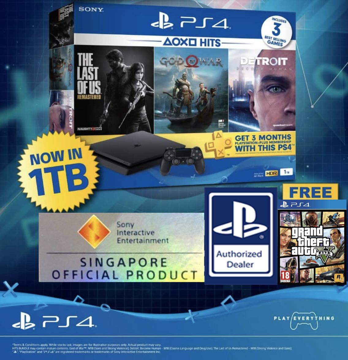 PS4 1TB Slim Hits Bundle with Free GTA V Game Disc