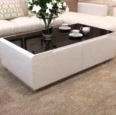 DELANEY Modern Piano Tempered Glass Coffee Table