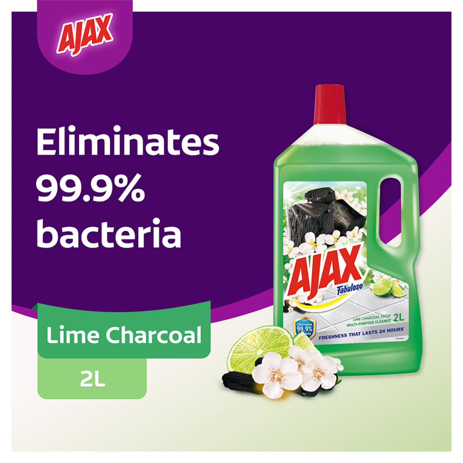 Ajax Fabuloso Lime Charcoal Antibacterial Multi Purpose Floor Cleaner 2L