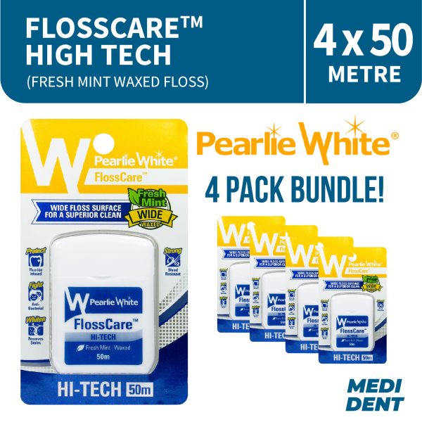 Buy PEARLIE WHITE FLOSSCARE HI-TECH FRESH MINT WAXED FLOSS 50M [BUNDLE OF 4] Singapore