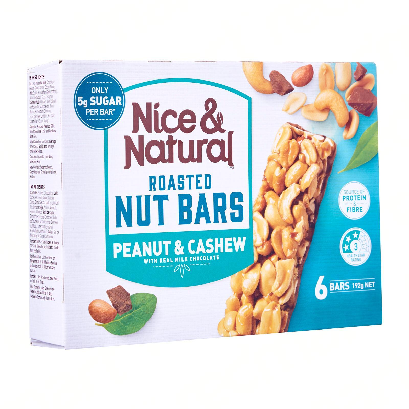 Nice & Natural Peanut and Cashew Roasted Nut Bar