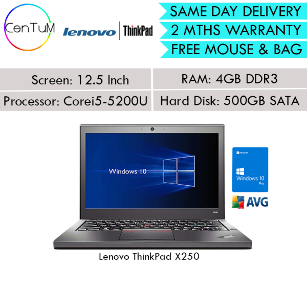[Same Day Delivery] Refurbished Lenovo Thinkpad X240 X250 X260 12.5 Inch Core i5-4200U / 5200U 4GB 8GB 500SATA SSD Win10 Pro Notebook Laptop [Up to 24 Months Warranty]