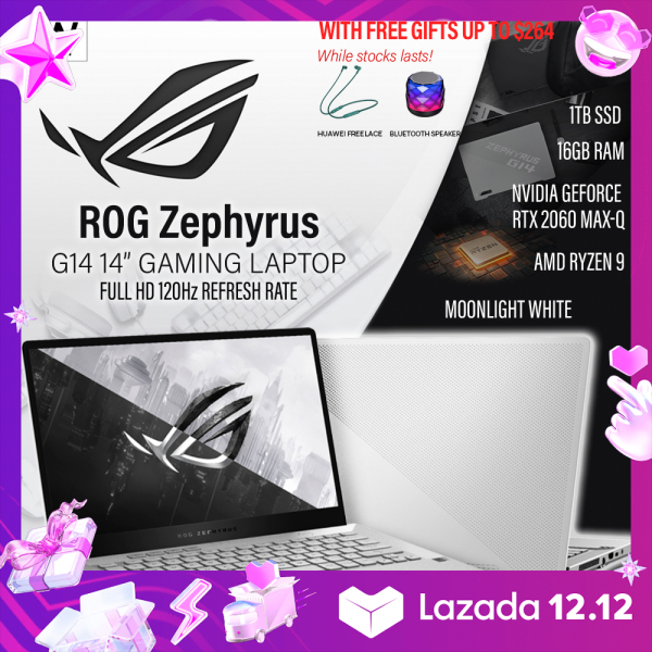 (Same Day Delivery) ASUS - ROG Zephyrus G14 14 Gaming Laptop - AMD Ryzen 9 - 16GB Memory - NVIDIA GeForce RTX 2060 Max-Q - 1TB SSD - Moonlight White