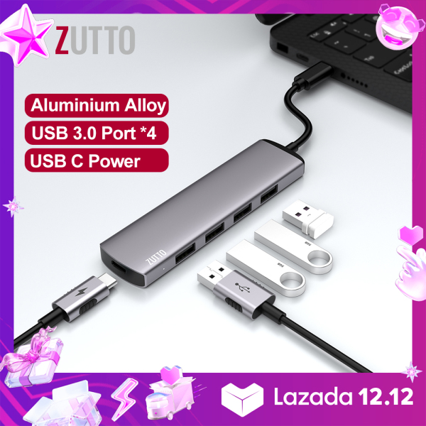 ZUTTO USB C to 4-Port USB 3.0 Hub, Ultra Slim High-Speed USB Splitter Portable Data Hub with USB C Power Supply Compatible for  for iPad pro 2020, Samsung Galaxy S20+ S10+, Huawei P40, MacBook, Mac Pro/mini, Surface Pro, XPS, PS4, Flash Drive, HDD/SSD