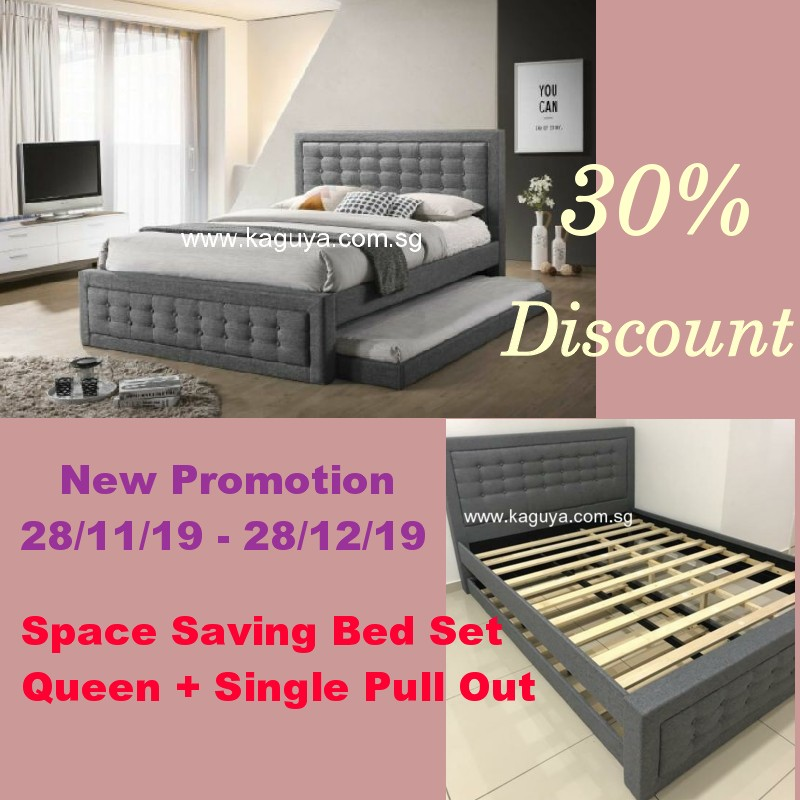 Limited Bed SET: 30% Discount / Nov 2019 - Dec 2019 / Queen + Single Pull Out Bed/ Space Saving Bed
