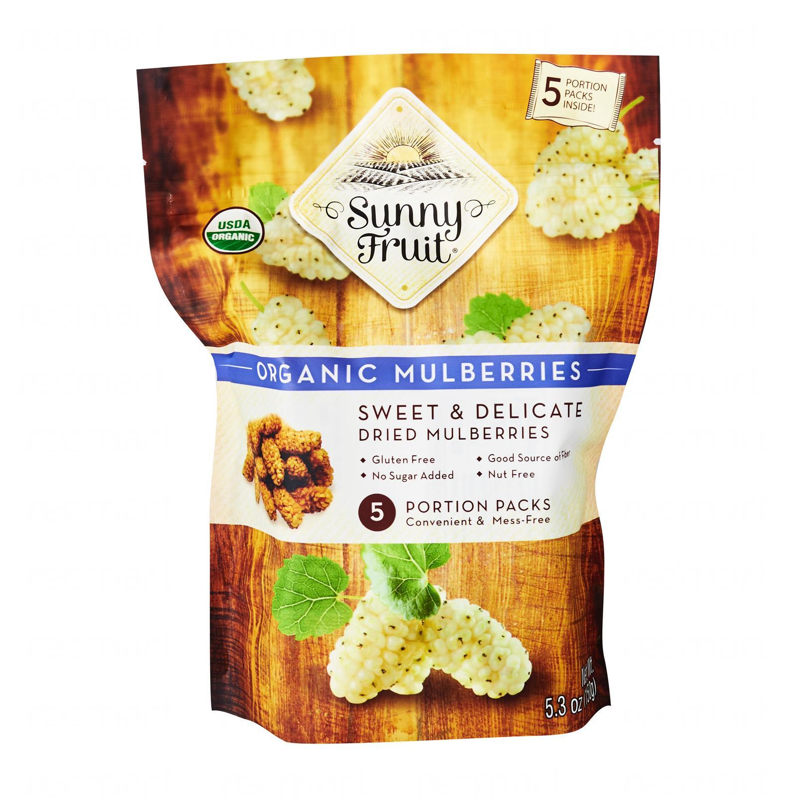Sunny Fruit Organic Mulberries (5 Packs) - By Wholesome Harvest