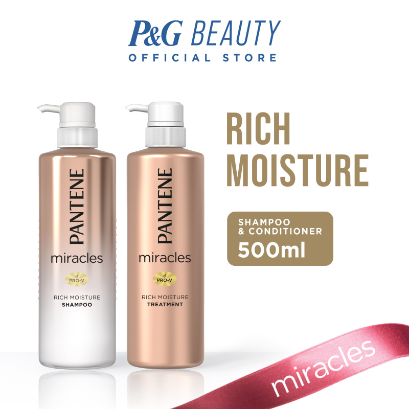 Buy [Bundle of 2] Pantene Miracles Rich Moisture Shampoo 500ml + Conditioner 500ml Singapore