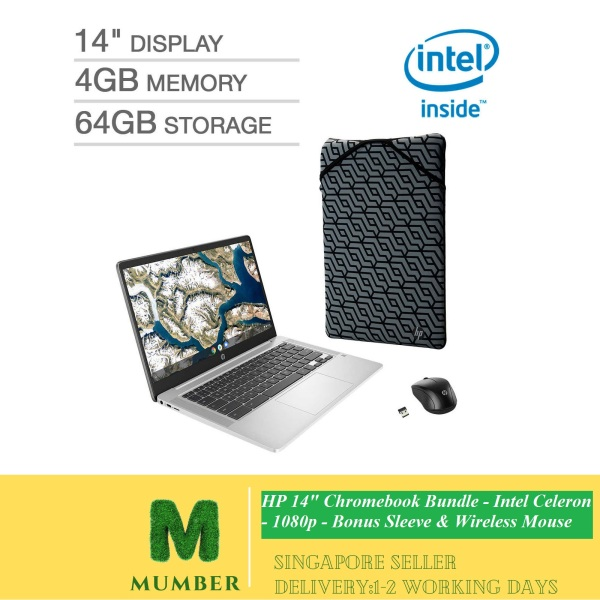 HP 14 Chromebook Bundle - Intel Celeron - 1080p - Bonus Sleeve & Wireless Mouse