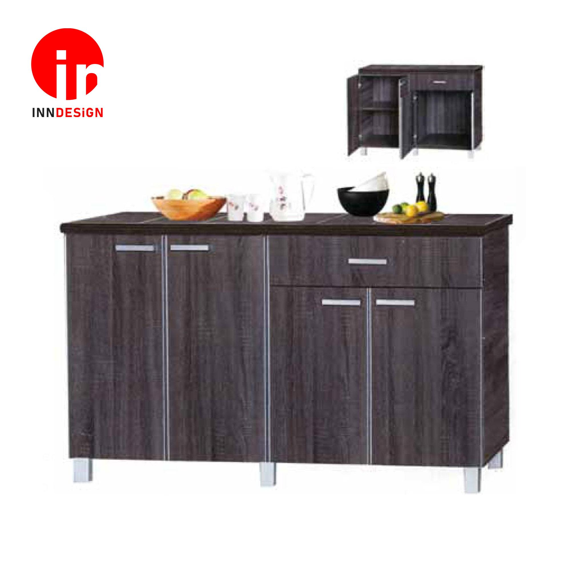 Cassiva 4 Doors With Drawer Kitchen Cabinet  (Ceramic Tiles Top) (Free Delivery and Installation) (Walnut)