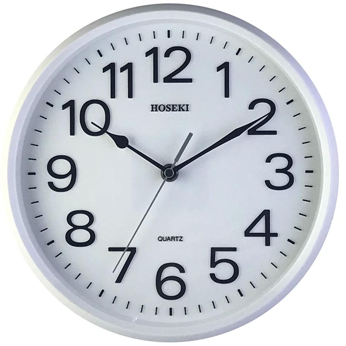 Hoseki Quartz H-9141W H-9141 White 3D Analog Round Decor Wall Clock
