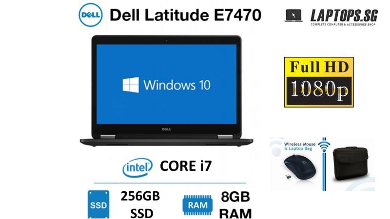 Dell Latitude E7470 Intel Core i7-6300U / 6th Gen / 8GB RAM / 256GB SSD / 14 FULL HD DISPLAY / WINDOWS 10-PRO / GRADE A CONDITION / FREE BAG & WIRELESS MOUSE