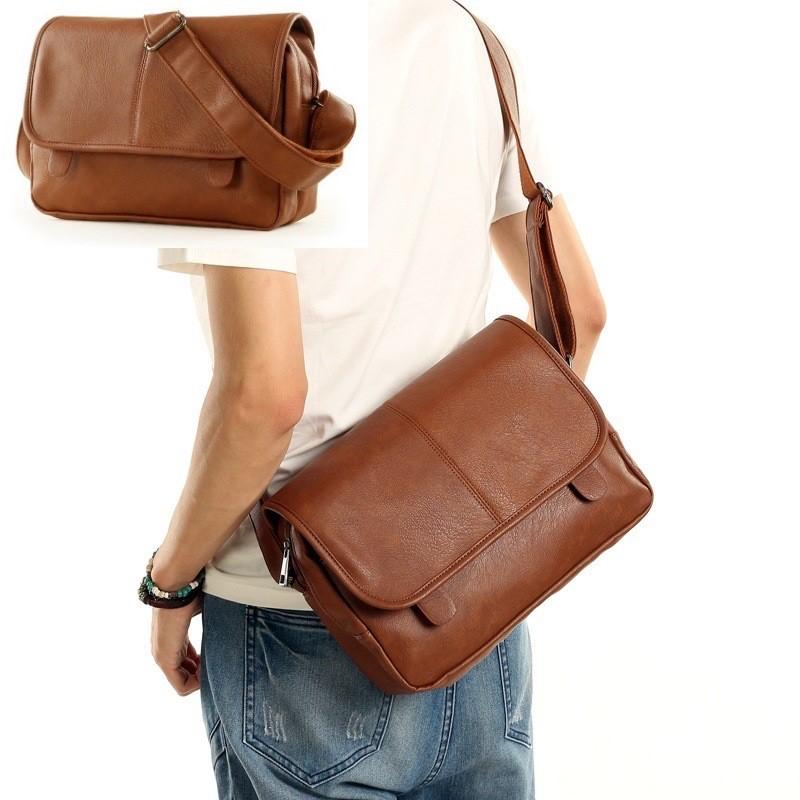 Korean Style Man Bag Cool Men Crossbody Bags PU Leather Messenger Beg