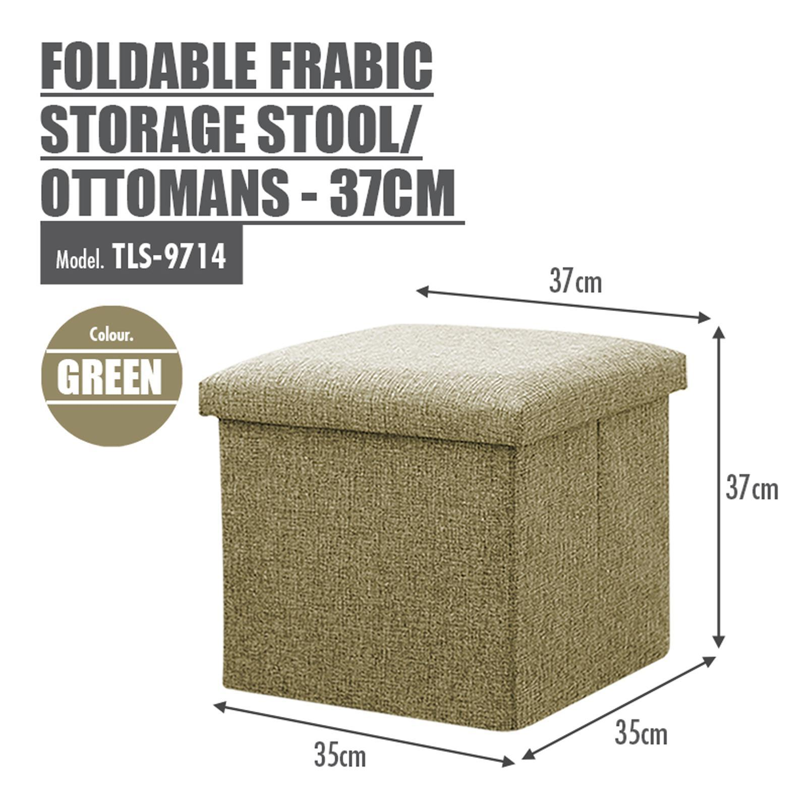 HOUZE Foldable Fabric Storage Stool/Ottomans - (Green)