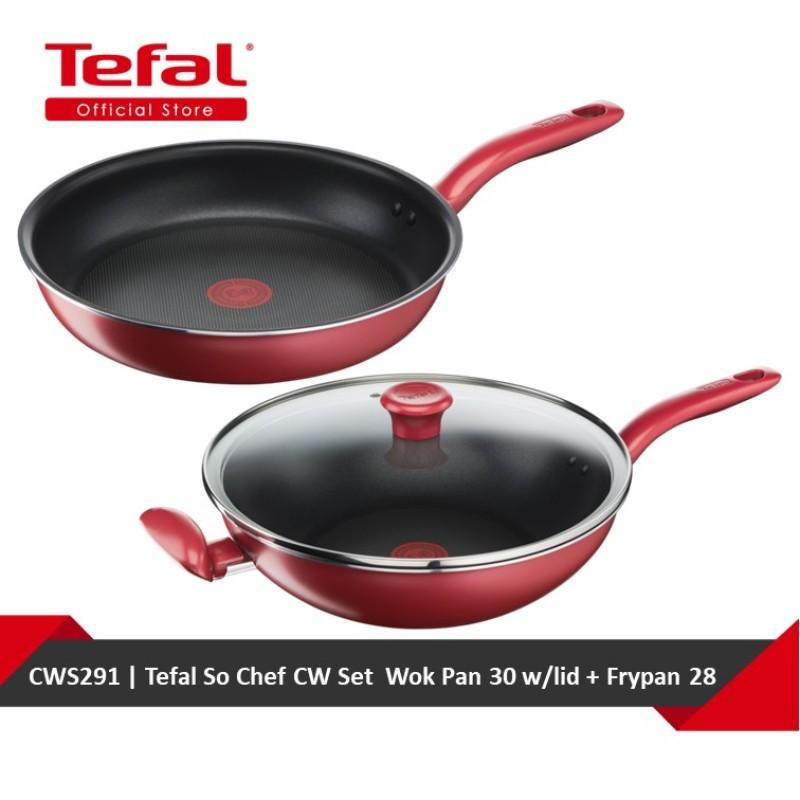 Tefal So Chef CW Set  Wok Pan 30 w/lid + Frypan 28 (G13594 + G13506) CWS291 Singapore
