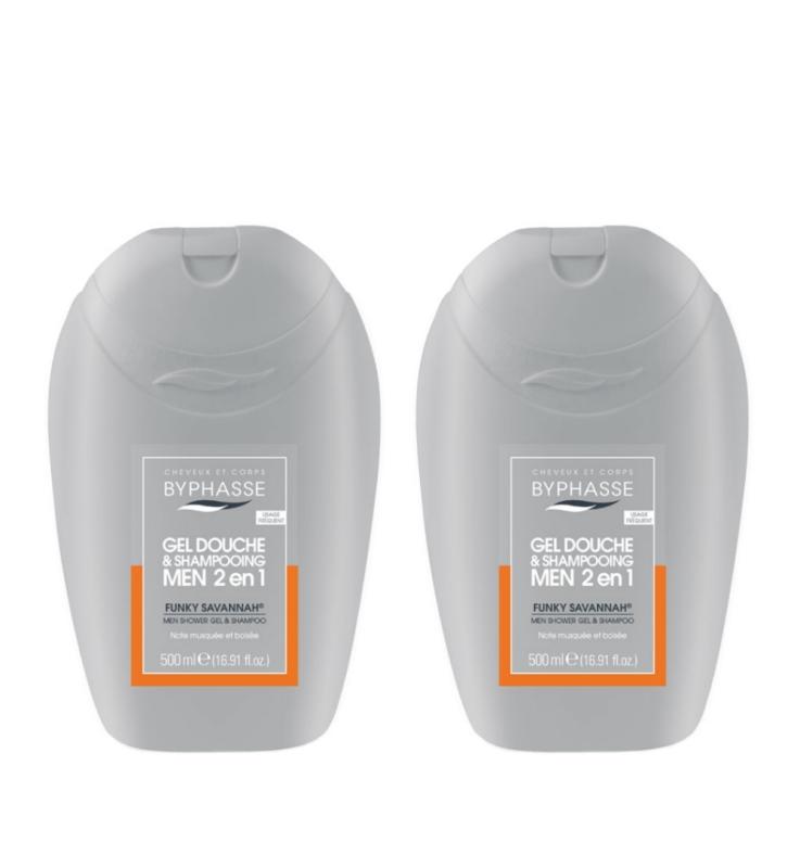 Buy BYPHASSE 2 IN 1 MEN SHOWER GEL & SHAMPOO FUNKY SAVANNAH 500ML x 2 bottles Singapore