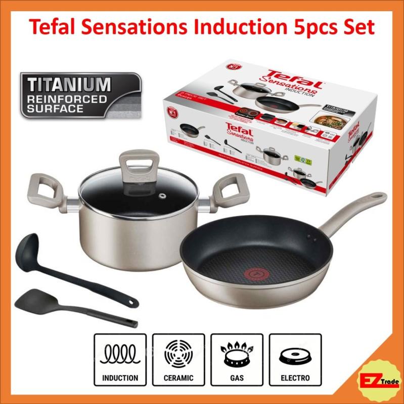 Tefal Sensations Induction 5pc Set (Frypan / Frying Pan 26cm + Stewpot 20cm w/lid + Spatula + Ladle) H910S5 Singapore