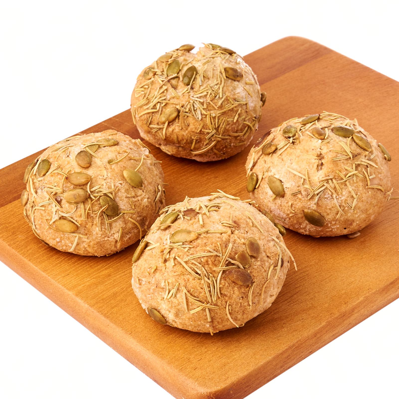 Delcie's Desserts and Cakes Keto Bread Roll - Rosemary with Pumpkin Seeds (Vegan Gluten Free Diabetes Friendly Low Carb Keto Friendly) - Frozen