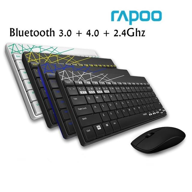 Rapoo 8000m Wireless Bluetooth 3.0/4.0 Keyboard And Mouse Combo Set By Audew.