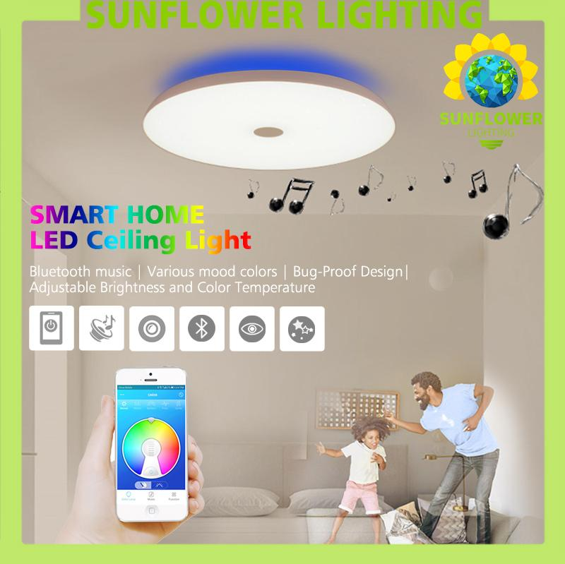 36W Smart Bluetooth Music LED Ceiling Light Smart home Bluetooth Speaker Lighting Living room Bedroom Dinning room Smart Light
