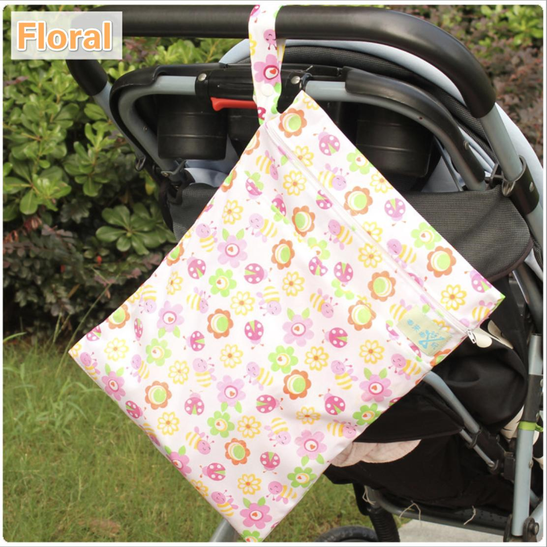 2in1 Waterproof Baby Double Diaper Bags Reusable Washable Zipper Cloth Wet Dry Bag Tote For Nappy Storagebag 30*40cm By Mycozyshop.
