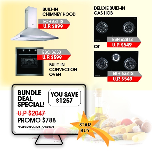 Otimmo(by Europace) 2/3 Burner 80cm Gas Hob + Chimney Hood + Convection Oven - Bundle Promo.